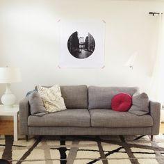IKEA Karlstad sofa and Instagram artwork