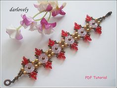 Golden Pearl Red Superduo Bead Bracelet BB172  PDF by darlovely