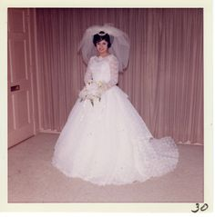 Vintage Photo of Beautiful Bride, Wedding, Woman, Hispanic, Latina, 1960's