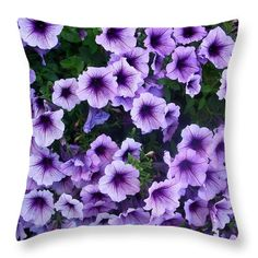 "Purple Petunias Throw Pillow for Sale by Aimee L Maher Photography and Art Visit ALMGallerydotcom. Our throw pillows are made from 100% spun polyester poplin fabric and add a stylish statement to any room. Pillows are available in sizes from 14""x14"" up to 26""x26"". Each pillow is printed on both sides (same image) and includes a concealed zipper and removable insert (if selected) for easy cleaning. Ships within 2-3 business days"