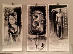 '3:26AD'. Triptych by artist Christoff Barnard. Ink on paper.