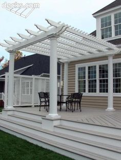 Deck with pergola.would rather solid roof but this would do in the meantime! Deck with pergola. Vinyl Pergola, Modern Pergola, Pergola Canopy, Pergola Swing, Deck With Pergola, Covered Pergola, Backyard Pergola, Pergola Shade, Pergola Plans