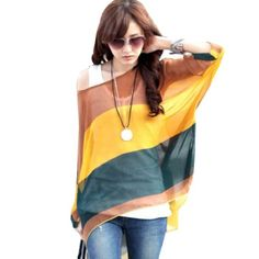 Bohemian Hippie Big Size Batwing Sleeve Chiffon Blouse Loose Off Shoulder Shirt (5848 ) ZANZEA http://www.amazon.co.uk/dp/B00JQ453A8/ref=cm_sw_r_pi_dp_BVDbvb08J1P4T