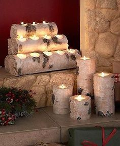 White Birch Log Wood Look Tealight Candle Holder Pillars Cabin Cottage