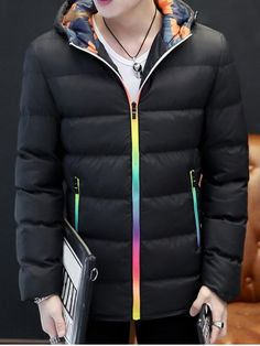 GET $50 NOW | Join RoseGal: Get YOUR $50 NOW!http://www.rosegal.com/mens-jackets/pocket-rainbow-zippers-hooded-padded-1010635.html?seid=8119039rg1010635