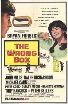 The Wrong Box.  John Mills, Ralph Richardson, Michael Caine, Peter Cook, Dudley Moore, Peter Sellers, Irene Handl and Tony Hancock.
