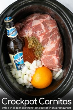 A simple recipe for delicious Crockpot Pork Carnitas! This Mexican classic comes together in no time using flavorful pork butt, spices, onion, oranges, and beer! With a special trick to get your carni Crockpot Carnitas Recipes, Crockpot Dishes, Crock Pot Cooking, Pork Dishes, Slow Cooker Recipes, Cooking Recipes, Skillet Recipes, Cooking Tools, Slow Cooker Pork Carnitas