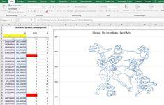 The Incredibles 2 - Vector, Clipart - xy-Chart for Excel  Die Unglaublichen 2 von Disney (Film) als xy-Diagramm, ohne Makro als Excel Art, Design