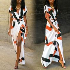 Orange Geometric Irregular Plunging Neckline Fashion Maxi Dress
