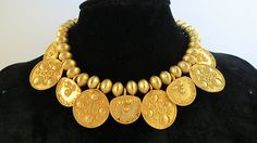 1980's Kenneth Lane Haute Couture Byzantine Style Coin Dangle Necklace