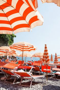 Orange striped umbrellas at Arienzo Beach - Carla Coulson Limited Edition Fine Art Prints Available to order at my online shop. Photo Wall Collage, Picture Wall, Bedroom Wall Collage, Orange Aesthetic, Beach Aesthetic, Orange Walls, Orange Beach, Beach Scenes, Travel Photography