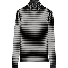 La Ligne Striped ribbed-knit turtleneck sweater ($240) via Polyvore featuring tops, sweaters, black white striped sweater, black and white sweater, black and white stripe top, turtle neck top and turtleneck tops