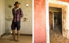 Looking the part in the desert, at Kolmanskop, my husband strikes a pose! Christmas 2014, Ghost Towns, Strike A Pose, Summer Travel, Journals, Husband, Poses, Figure Poses, Journal Art