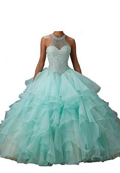 PGS Womens Beads Sheer Sleeve Dimonds Wedding Quinceanera Dresses 12 US Aqua ** To view further for this item, visit the image link.