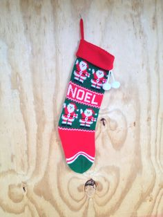 50 OFF SALE Vintage Green Red & White Noel Knit by vintapod, $4.00