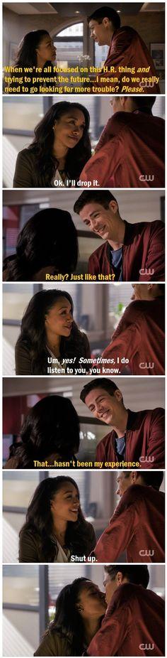 Any time Barry and Iris tease each other and then kiss is all right in my book :D I love how well they know each other <3 |TV Shows||CW||#The Flash funny||3x11||Barry Allen||Iris West||#Westallen funny||Grant Gustin||Candice Patton|