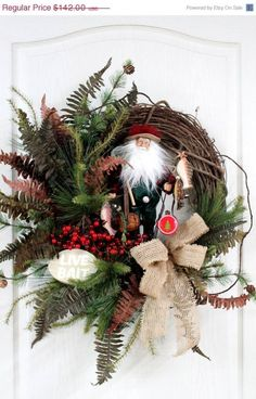 Like the rustic Fishing Santa, Country Front Door Wreath, Cabin Christmas Wreath for the Fisherman at Heart Oh this is gorgeous! Christmas Clock, Cabin Christmas, Country Christmas, Christmas Projects, Christmas Time, Christmas Quotes, Holiday Wreaths, Holiday Crafts, Christmas Decorations