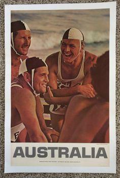 Original Travel Poster Australia 1960 Bondi Beach Lifeguards Vintage Sydney Surf Australia Day, Australia Travel, Western Australia, School Advertising, Bronte Beach, Man Cave Room, Australian Vintage, Pub, Largest Countries