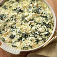 Side Dish Spinach and Feta Casserole: 3  eggs, lightly beaten  2  cups cream-style cottage cheese  1  10 ounce package frozen chopped spinach, thawed and well drained  1/3  cup crumbled feta cheese  1/4  cup butter, melted  3  tablespoons all-purpose flour  2  teaspoons dried minced onion  Dash ground nutmeg
