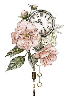 Time changes so many things. - Art/Drawings/Paints/Tattoos etc. Rose Vintage, Vintage Flowers, Vintage Flower Prints, Vintage Style, Watercolor Flowers, Watercolor Paintings, Clock Vintage, Decoupage Paper, Rose Tattoos