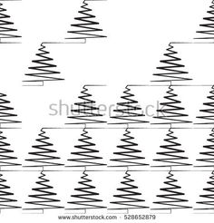 Christmas pattern with fir-tree. black and white