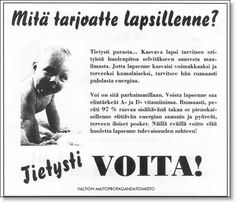 Vanhat mainokset Retro Ads, Vintage Ads, Old Commercials, Ordinary Lives, Old Ads, Black And White Pictures, Historian, Ancient History, Finland