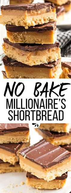 These millionaire's shortbread bars are an amazing no bake dessert idea. Everybody will be begging for the recipe! They are made from layers of shortbread cookies, homemade fudgy caramel and a crackling chocolate topping. The perfect easy treat that tastes like homemade twix bars! Kids and adults love these, and they'll be the star of any potluck or Valentine's Day party. | #recipes #easyrecipes #nobake #dessert #chocolate #valentinesday