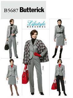 Butterick B5687 Paper Pattern Misses' Cape, Jacket, Skirt and Pants