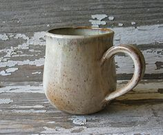 Pottery Mug Oatmeal & Honey Round Bottomed by BRobertsonPottery