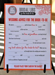 MAD LIBS - Bridal Shower edition -