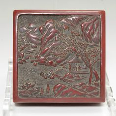 Antique Red Chinese Carved Cinnabar Lacquer seal-ink box #1980 - ChanoYu online shop