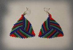 Colorful beads peyote triangle earrings.