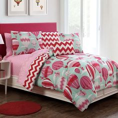 cute bedding for girls! mint, pink and red, hot air balloons, chevrons and polka dots