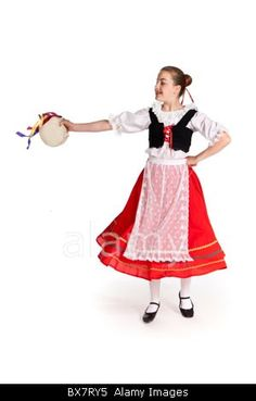 Studio shot of young girl in colourful Italian national folk dancing costume Stock Photo