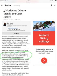 Forbes Jan Bruce 22.1.16: 5 Workplace Culture Trends You Can't Ignore // cultivation of a healthy emotional culture