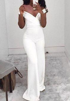 Rehearsal Dinner - White Plain Cut Out Zipper High Waisted Long Jumpsuit