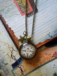 Medaillonketten - Kette Kompass mit Anhänger - ein Designerstück von Love-design bei DaWanda