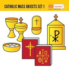 This Catholic Mass Objects clip art set includes religious items seen in the Catholic church: • Chalice • Ciborium (2 versions) • Tabernacle • Holy Water font • Sacramentary book • Book of Gospels You will get the full color and black/white versions. Total: 14 files. **All files are separated individually in high resolution, 300 dpi, .png transparent background**