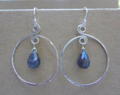 Labradorite and hand hammered sterling silver spiral earrings. Sterling silver and labradorite earrings for women and teens.