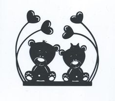 Baby bears with hearts silhouettes by hilemanhouse on Etsy