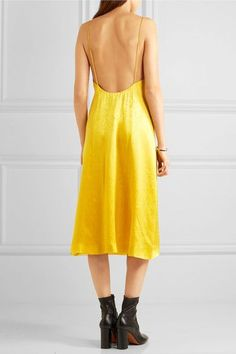 Topshop Unique - Floral Fatale Silk-jacquard Dress - Yellow - UK10