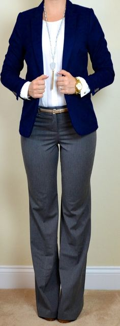 Business casual work outfit: navy blazer, white blouse, grey slacks. I'd wear with nude heels or Oxfords.