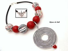 COL286 - Collier rayures japonisantes en fimo