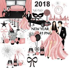 New years eve rose gold clipart silver glitter clip art