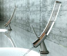 elegant combination of sustainability and design.  the faucet keeps water use to one liter, very clever