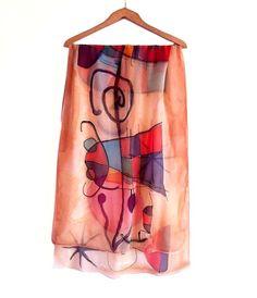 Joan Miro shawl wrap. Silk chiffon large shawl by AHouseAtelier
