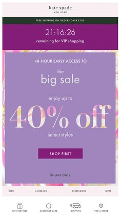 VIP email with countdown timer from Kate Spade #EmailMarketing #Email #Marketing #CountdownTimer #VIP