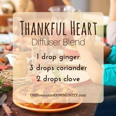 thankful heart diffuser blend PLUS recipes for 20 fall diffuser blends -- easy…