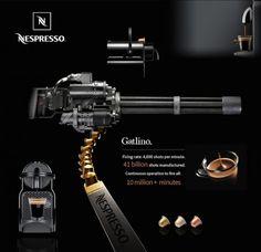 Was für ein schräges Gadget für Nespresso-Kaffee Fans..welches definitiv auch in meinem Besitz übergehen muss, auch wenn es nur eine Studie ist. The Gatlino - Nespresso Gatling Gun
