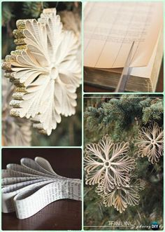 DIY Old Book Paper Glitter Snowflake Ornament Instruction- DIY Paper Christmas Tree Ornament Craft Ideas christmas snowflakes DIY Paper Christmas Tree Ornament Craft Ideas Instructions Diy Christmas Snowflakes, Diy Paper Christmas Tree, Christmas Projects, Christmas Tree Ornaments, Christmas Ideas, Paper Snowflakes, Outdoor Christmas, Snowflake Ornaments, Paper Christmas Decorations